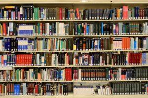 Hylla med böcker