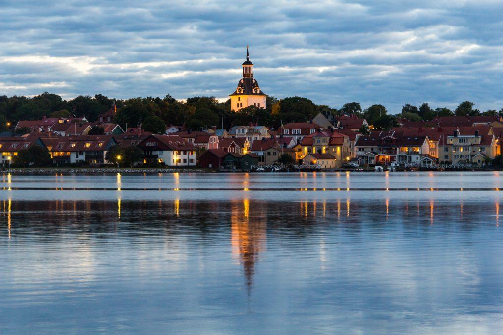 Västerviks stadsvy med St Gertruds kyrka