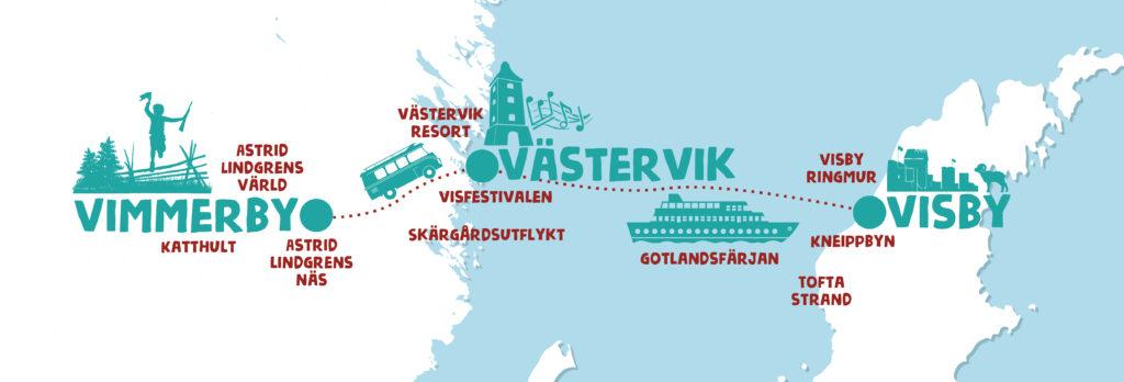 Karta Sverige Vimmerby.Vimmerby Visby Och Vastervik Lanserar Sommarroadtrip2018